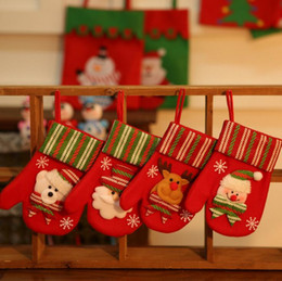 Wholesale Christmas Gift Bags Christmas gloves Xmas Doll Bag Santa Clause Snowman Bear Elk Pattern bags Christmas Tree Decoration