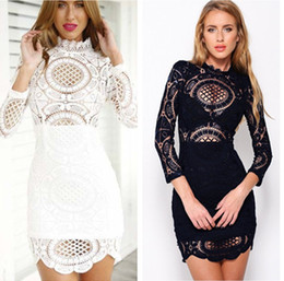 2015073104 Women Black Vintage Party Evening Elegant Midi Dress Girls White Lace Embroidery Long Sleeve Crotched Dresses 2015 Summer Style