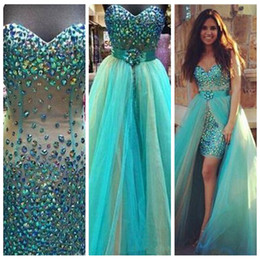 Wholesale 2017 Beautiful Crystals Short Prom Dresses Sweetheart Sexy Party Evening Gowns With Detachable Train Beaded Rhinestone Arabic Dress piece