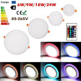 Promotion dans la lumière conduit 6w Dual Color 6W / 9W / 18W / 24W rond / carré LED plafonnier encastré Flat Panel Down Light Lamp