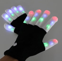 Wholesale LED Colorful Flashing Finger Lighting Flash light emitting Christmas ghost white fingertips lantern gloves CR2016 electronics