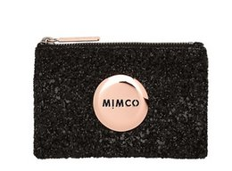 Wholesale FREESHIPPING MIMCO LOVELY BLACK SPARKS ROSEGOLD LOGO SMALL POUCH COIN POUCH PHONE POUCH TOP QUAILITY