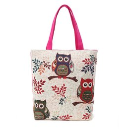 Wholesale Floral And Owl Printed Canvas Tote Female Casual Beach Bags Large Capacity Women Single Shopping Bag Daily Use