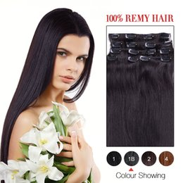 Hot Sale Human Hair Wefts Indian Yaki Straight Clip In Hair Extensions #1B Color 7Pcs Set Remi Hair Clip In Hair.
