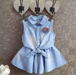 2016 new Girl flower bowknot denims dress suits Summer Chiffon cotton Sleeveless T-shirt + skirt 2pcs suit baby clothes
