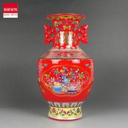 Jingdezhen ceramics enamel vase Jin Zhongping ears red festive Home Furnishing decoration design