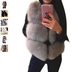 Wholesale Fashion Winter Women Girls Faux Fox Fur Thick Waistcoat Sleeveless Jackets Coat Warm Slim Vest Outcoat ED00018