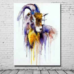 Wholesale Modern Abstract Acrylic Paintings Living Room Wall Decor Goat Oil Painting Best Quality Large Canvas Art Home Decor Pictures No Framed