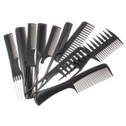 10pcs Professional Combs Set Salon Hair Black Plastic Hairdressing Comb Styling Tools Good For Barber tool tee