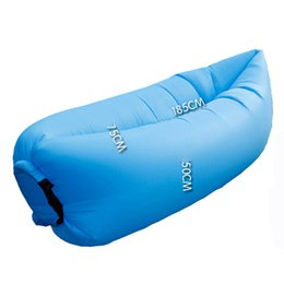 Wholesale Hot Hangout Sofa Fast Inflatable Air Lazy Blue Sleeping Bag Camping Lay Bed Storage Bag Outdoor Gear