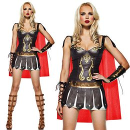 Wholesale Brown Queen Of Victorious Warrior Gladiator Costume Sexy Halloween Cosplay Clothes