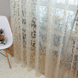 Wholesale New Hot Sale European style jacquard leaf design tulle fabrics sheer curtains for balcony