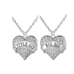 Big Sis Little Sis Necklace With Big Clear Stone Heart Pendant Family Love Gift Children Jewelry for Sister