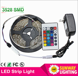 Wholesale LED Strips M Set SMD led LED Strip Light Waterproof Keys IR Remote Controller Power supply Adapter White Red RGB LED strips light