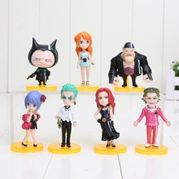 Wholesale 7pcs set cm Anime One Piece Film Gold Nami ZORO Tanaka Baccarat PVC Action Figure collectable Model Kids Toy