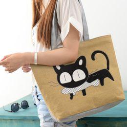 Wholesale 2016 Fashion Cat Eat Fish Canvas Bag Handbags Flowers Women Handbag Shoulder Bags cute Women Messenger Bags BY DHL