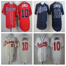 Wholesale Chipper Jones Jersey Atlanta Braves Jersey Baseball Jersey White Red Grey Cream Blue Top Quality