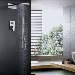 Wholesale Rainfall And Waterfall Shower Head Set Hot And Cold Shower Faucet Sets Rectangle Unit Bath Shower Kit