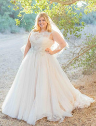 2016 Modest Plus Size Lace Robes de mariée Jewel Une ligne dentelle Top perlé Sash balayage train Tulle Robes de mariée Custom Made à partir de fabricateur
