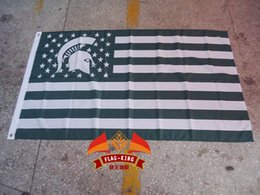 Wholesale Michigan State University with American national flag background flag green banner CM polyster