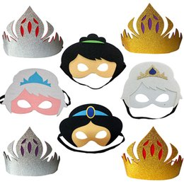 Wholesale Halloween Fashion Mask Cartoon Mask Nontoxic Snow White Snow Queen Masquerade Kids Boy Girl Prop Costume Cosplay Makeup Party Mask Styles