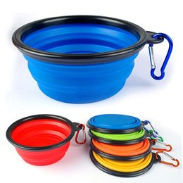 Wholesale Collapsible Dog Bowl Food Grade Silicone Portable Pet Dog Cat Puppy Feeding Bowl with Carabiner Folding Dog Water Dish Feeder Travel