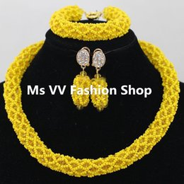 single Layers necklace set sliver yellow Nigerian Wedding African Beads Dubai Crystall Beads Bridal Jewelry Set G01