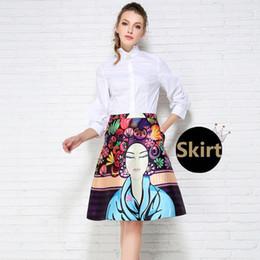 Wholesale-Women's Fall Fashion Retro Prints High Waist Pleated Pocket Ball Gown A-Line Midi Skirt