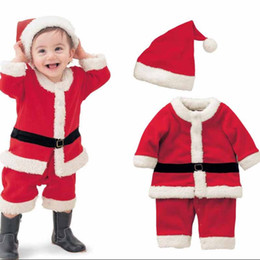 Wholesale Red Christmas Outfit Winter Infant Baby Girls Dress Hats Boys Coat Pants Hats Thick Snow Suit Faxu Fur Velvet Toddler Chidlren Set