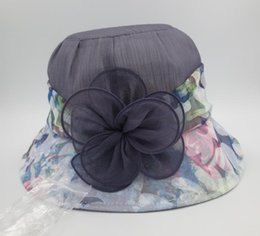Wholesale Anti UV ultraviolet Net Yarn floppy hat summer fashion church Bucket hats flower Folded hats for women