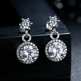 Genuine 925 Sterling Silver Earrings Classic Elegance Clear CZ Round-cut Push Back Drop Earrings Fashion Women Wedding Jewelry ER071