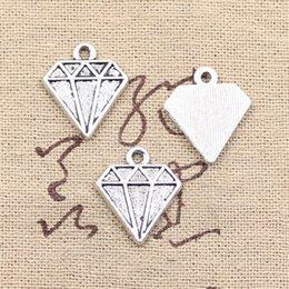100pcs Charms faceted diamond gem 16*18mm Antique Making pendant fit,Vintage Tibetan Silver,DIY bracelet necklace
