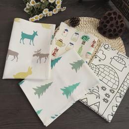 Wholesale Quality hemp cotton christmas series placemat cartoon table napkin mats Cotton Printed Napkin JF
