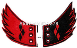 Wholesale Harley Quinn Batman Villain patch Diamond Shoe Wings Cosplay Gotham Joker Jester Suicide Squad Animated Embroidered Halloween