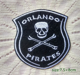 Orlando Pirates Skull Motorcycle Biker Rider Iron on Embroidered patch Gift shirt bag trousers coat Vest Individuality