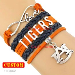 Wholesale Infinity Love Auburn Athletic Football Tigers Team Sports Bracelets Orange Navy Blue Women Men Lady Girl Jewelry Gift Custom Drop Shipping
