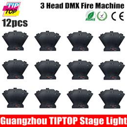 Wholesale TIPTOP XLOT Three Head Stage Effect Fire Machine W Nozzle DMX Control Triangle Fire Machine Address Dip Code Projector