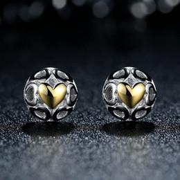 Genuine 925 Sterling Silver Earrings Studs My One True Love Openwork Hearts with 14k Gold Heart Fashion Women Jewelry ER058