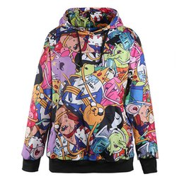 Wholesale Fashion Adventure Time Autumn Winter Women Hoodied Sweatshirt Animated Cartoon Digital Print Casual Long Sleeve Hoodies