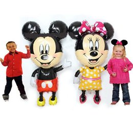 Wholesale 112cm cm Giant Mickey Minnie Balloon Cartoon Foil Birthday Party Balloon Airwalker Balloons for Kids Baby Toys Party Decorate