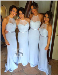 Elegant Light Blue Long Bridesmaids Dress 2016 Simple Halterr Weedding Guest Dresses for Party vestido de festa