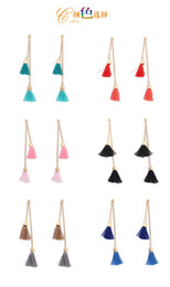 Wholesale 2016 Duet Tassel Earrings Duo Thread Cluster Chandelier Earrings Colors with Metal Cup Charms Gold Tonal