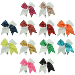 Wholesale 7 inch Half Sequin Girls Cheer Bows Grosgrain Ribbon Rhienstone Baby Kids Cheerleading Bows With Alligator Clip