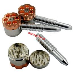 free shipping to UK USA Wholesale six shooter grinder pipe retail smoking pipe 2 in 1 metal bullet pipe Magnetic herb grinder cigar vapor