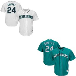 Wholesale Men s Hot Seattle Mariners Ken Griffey Jr Green Navy blue White Cool Base Baseball jerseys Stitched Name and Logo