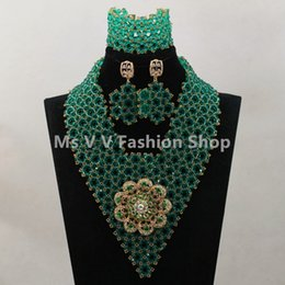 Wonderful Teal Green Nigerian Wedding Jewelry Set for African Women Costume Laces Dress Party Jewelry Set Free Shipping