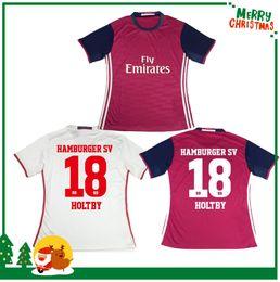 Descuento camisetas de fútbol de color rosa 16 17 Bundesliga de calidad superior Hamburger SV 2016 2017home blanco lejos rojo rosa jersey de fútbol uniforme Shorts manga Camisetas de fútbol