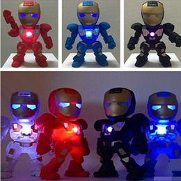 Wholesale C Iron Man bluetooth speaker with LED Flash light Iron Man figure Robot portable Mini wireless subwoofers bluetooth support TF FM USB DHL