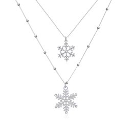 New Fashion Jewelry Tiny Silver Beaded Chain Pave Crystal Inlaid Metallic Snowflake Charm Double Layered Tier Long Chain Necklace