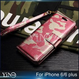 Wholesale Cool Military Camouflage Camo PU Leather Flip Case Stand Wallet Cover Silicone Shell for iPhone Plus s Plus Card Holder